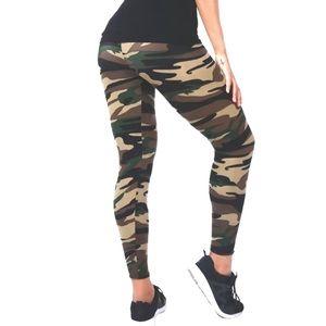 Women Yoga Elastic Sport Camouflage Leggings
